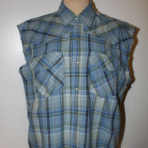 Canyon Guide Outfitters Shirts - Men's Blue Paid Snap button Sleeveless Large